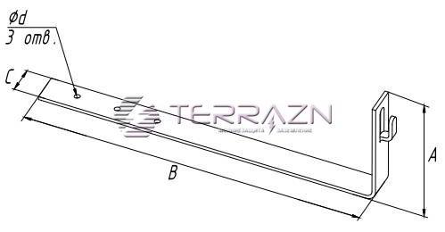 Держатель угловой под черепицу - схема