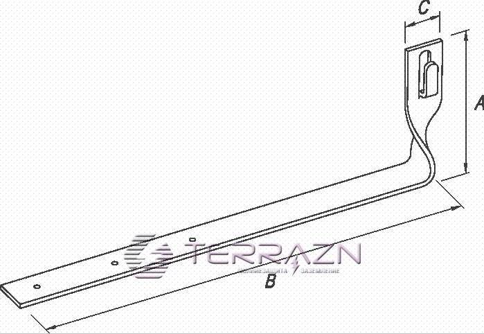 Держатель под черепицу скрученный L-330мм - схема