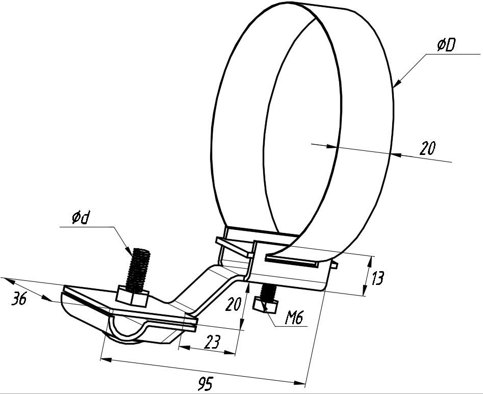 Держатель для труб универсальный 200мм - схема