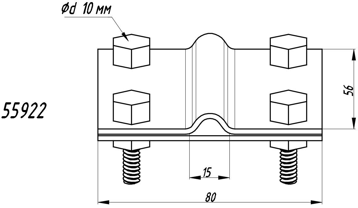 Зажим полоса-прут П-40 - схема