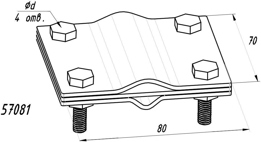 Зажим «штырь-полоса-прут» - схема