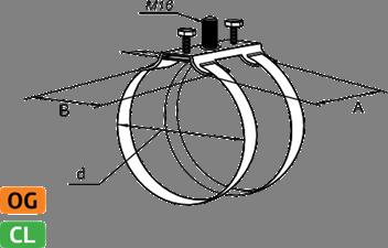 Держатель для труб двойной - схема