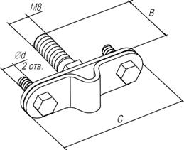 Держатель фасадный с резьбовым соединителем - схема