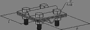 Зажим крестовидный «прут-прут» с тремя пластинами - схема