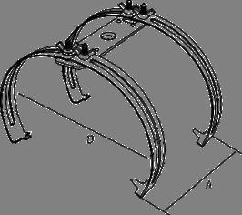 Держатель молниеприемника на круглый конек двойной - схема